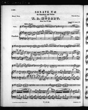 Sonate No. 42 für Pianoforte und Violine, K. 526, A Major