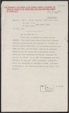 Decypher of Telegram from Sir J. Jordan re: Chinese Labour Corps Missionary Officers, April 30, 1918
