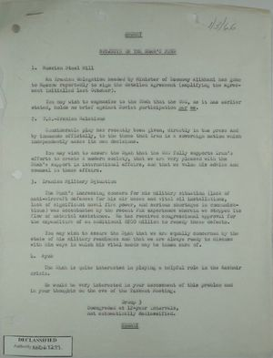 Unsigned memo, re: Subjects on the Shah's mind, January 3, 1966