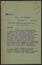Confidential Code Telegram to Governor of Barbados re: Labour for Panama Canal, November 8, 1940