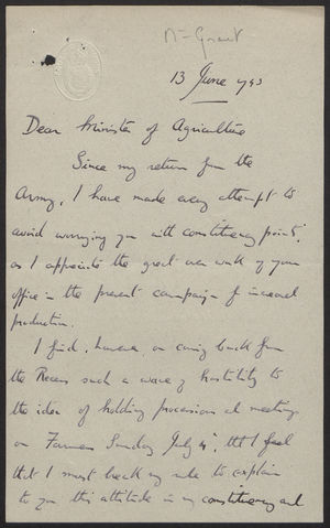 Handwritten Letter from Robin H. Turton to the Minister of Agriculture re: Farm Sunday, June 13, 1943