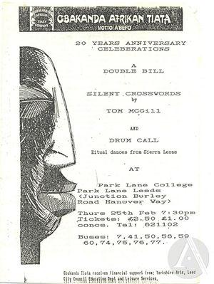 Playbill for <i>Silent Crosswords</i> by Tom McGill and <i>Drum Call</i> by Gbakanda Afrikan Tiata Company, Leeds England, 1988