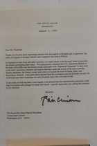 Letter from President Clinton to Chairman Moynihan, August 3, 1994