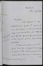 Handwritten Letter from G. F. Bonham to Robert Gascoyne-Cecil re: Copy of Telegram on War in Cuba, January 1896