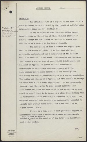 Memo from R.B. Cross re: Dietary Survey in West Riding of Yorkshire, February 27, 1939