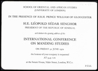 Invitation to the opening address by H. E. Léopold Sédar Senghor, on Friday 30 June 1972