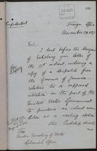 Memo from P. W. Currie to Under Secretary of State, Colonial Office, re: Copy of Despatches on Intention of U.S. to Purchase Island Near Colon, November 29, 1887