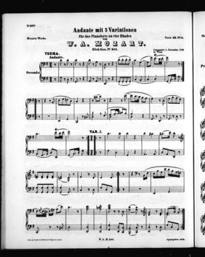 Andante mit 5 Variationen für das Pianoforte zu vier Händen, Secondo Part, K. 501, G Major