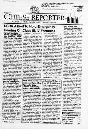 Cheese Reporter, Vol. 130, No. 13, Friday, September 30, 2005