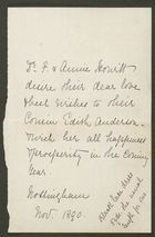 Letter from Dr. F. and Annie Howitt to Edith Thompson, November 1890