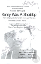 Program for Kenny Was A Shortstop by Jeannie Barroga, produced by the Asian American Repertory Theatre.