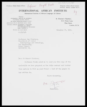 Letter from Mrs Olga Wolfe to MG, 17 Nov. 1964