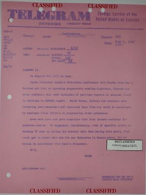 Telegram from Armin H. Meyer to Secretary of State re: Discussion of Algiers Afro-Asian Conference with Iranian Foreign Minister Aram, May 1, 1965