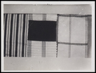 3 textile pieces, 1 woven in stripes, 1 in stripes with solid colour block inserted and 1 with embroidered cross stripes