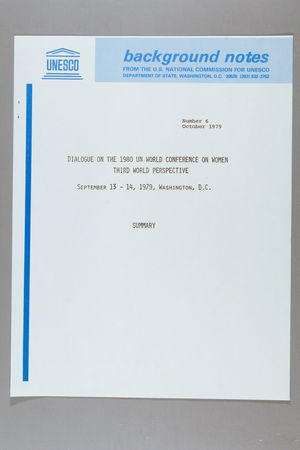 Dialogue on the 1980 UN World Conference on Women, Third World Perspective, Washington, D.C., 13-14 September 1979