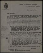 Letter from E. Tweed to E. Harrison, Aug. 25, 1945