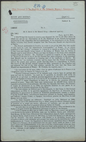 Letter from Sir F. Bertie to Sir Edward Grey, April 3, 1911