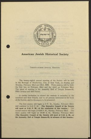 28th Annual Meeting of the American Jewish Historical Society
