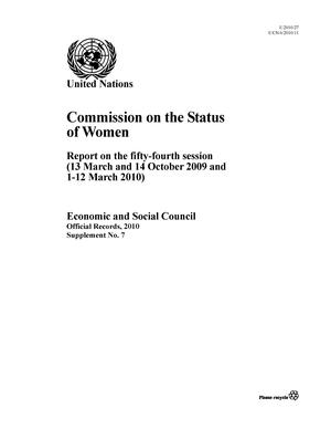 Report on the 54th Session, New York, 1-12 March 2010