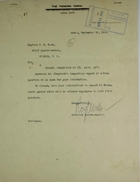 Correspondence re: Monthly Inspection of Silver Family Quarters, September 1914