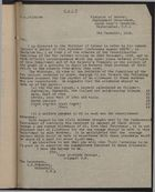 Copy of Letter from Ministry of Labour to Treasury re: Repatriation, December 9, 1918