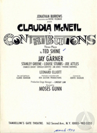 Playbill for Contributions by Ted Shine
