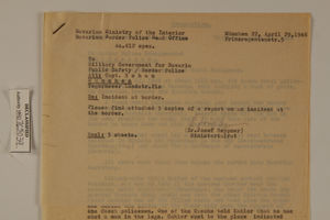 Memo from Dr. Josef Heppner re: Border Violation by Czech Rural Policemen, April 29, 1946