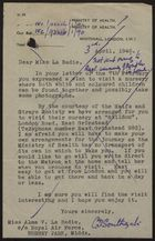 Memo from Ministry of Health to Miss Alma V. La Badie re: Visit to Nursery with Both White and Coloured Children, April 03, 1946