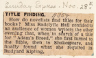 Adam's Breed by Radclyffe Hall: Title Finding, Sunday Express, November 28