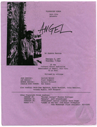 Flyer for a staged reading of Angel by Jeannie Barroga, produced by Playwright Forum at the Cultural Center Auditorium, Palo Alto, CA, February 5, 1987.