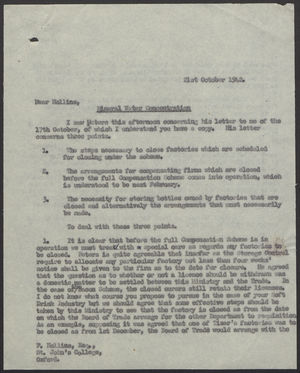 Letter from John Corbett to Frank Hollins re: Mineral Water Concentration, October 21, 1942