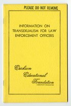 Erickson Educational Foundation - Information on Transexualism for Law Enforcement Officers (August 1973)