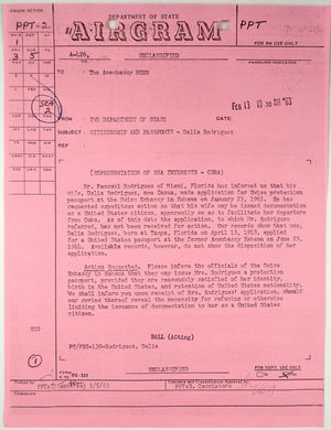Airgram from Department of State to American Embassy in Bern re: Citizenship and passports - Dalia Rodriquez, February 13, 1963