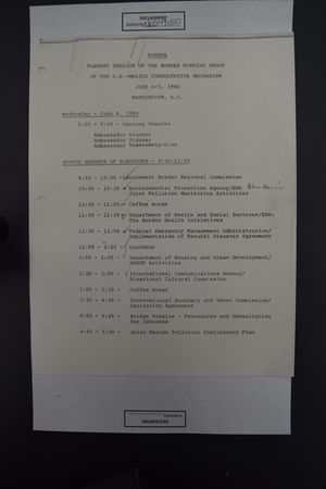Agenda: Plenary Session of the Border Working Group of the U.S.-Mexico Consultative Mechanism, June 4-5, 1980
