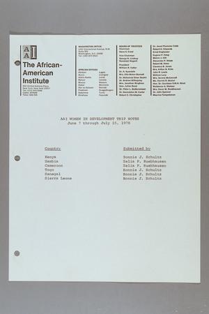 African American Institute (AAI) Women in Development Trip Notes, 7 June -15 July 1978