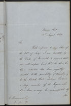 Letter from Frederic Rogers to E. Hammond re: Transfer of Free Negroes from United States to British West Indian Colonies, August 12, 1862