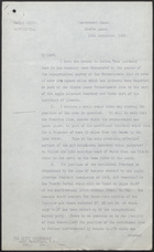Letter from M. A. Young to The Right Honourable Lord Passfield, September 18, 1929