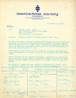 1973 Petition for Theater Permit For Mattachine Society, San Francisco