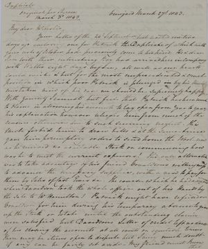Copy of Letter from Hannibal Hawkins MacArthur to William Leslie, March 17, 1843