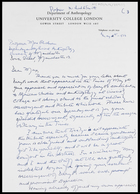 Letter from Mike [Prof. Michael G. Smith], Dept. of Anthropology, UCL, 12 May 1973