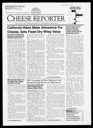 Cheese Reporter, Vol. 132, No. 21, Friday, November 23, 2007