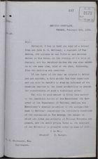 Copy of Letter from C. Mallet to Thomas C. Stevenson re: Lives and Property of British Subjects are in Danger, February 6, 1893