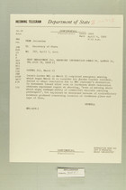 Telegram from Eric Wendell in Jerusalem to Secretary of State, April 1, 1960