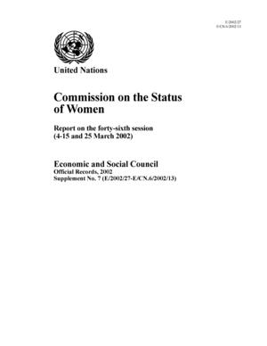 Report on the 46th Session, New York, 4-15 and 25 March 2002