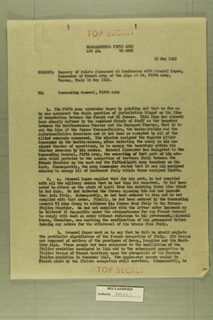Memo from Colonel T. J. Conway to the Commanding General, Fifth Army, May 15, 1945