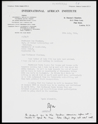 Letter from Mrs Olga Wolfe, Secretary, IAI, to MG, 29 July 1964