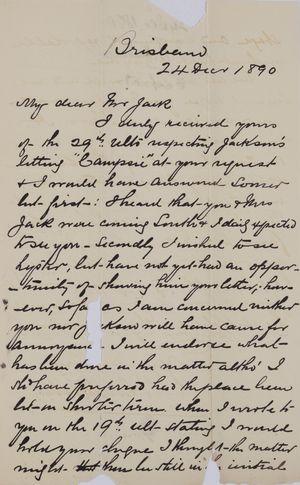 Letter from J. B. Henderson to Robert Logan Jack, December 24, 1890