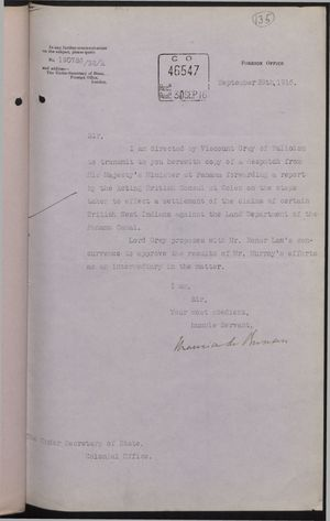 Correspondence re: Claims by British West Indians Against Land Department of Panama Canal, 1916