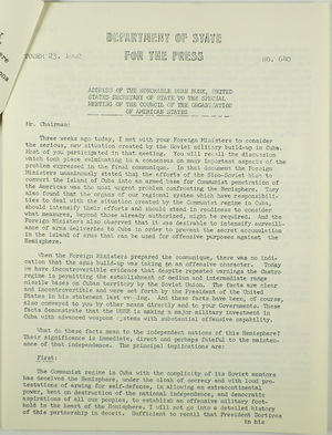 Address of the Honorable Dean Rusk, United States Secretary of State to the Special Meeting of the Council of the Organization of American States, October 23, 1962