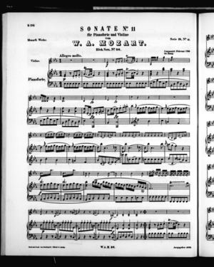 Sonate No. 11 für Pianoforte und VIoline, K. 26, E Flat Major
